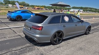 Audi RS6 Avant C7 with Milltek Straight Pipes! REVS & DRAG RACE!