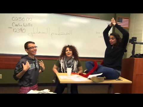 American students acting in Arabic .