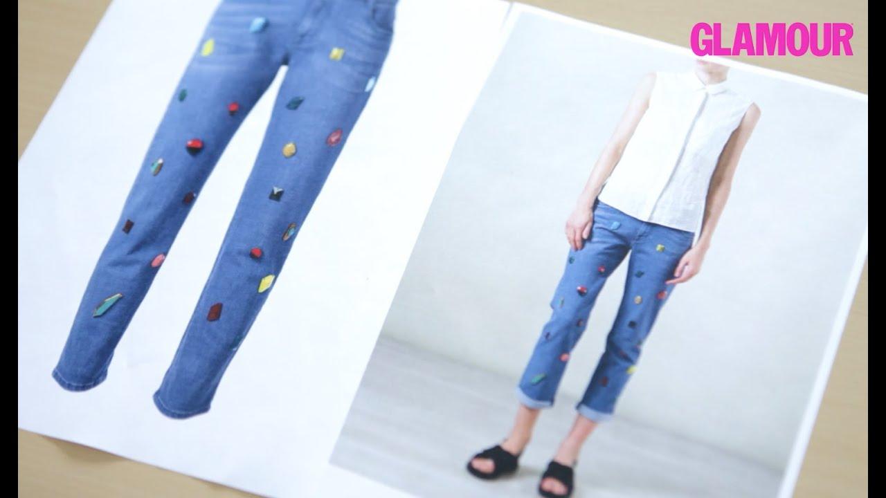 Как украсить джинсы стразами 3