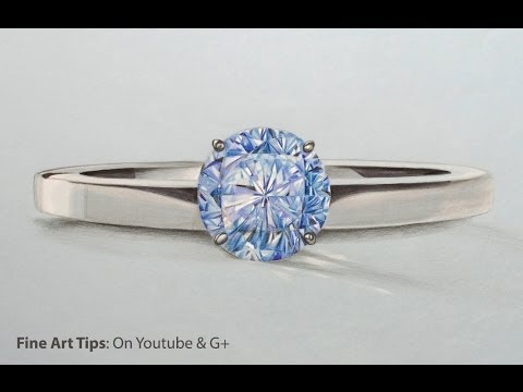 How To Draw Blue Diamond Ring