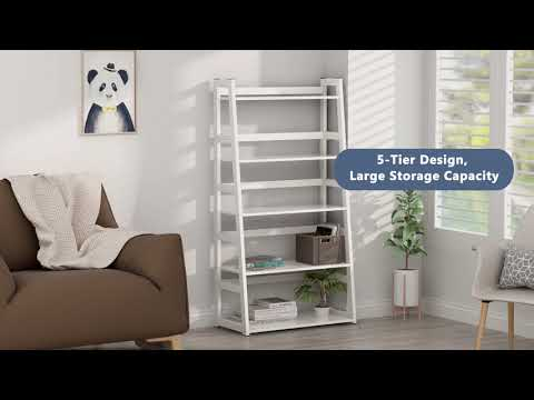 Tribesigns 5-Tier Ladder Shelf, 5 Shelf Modern Bookshelf And Bookcase Freestanding Leaning Shelf