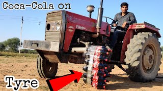 Coca Cola vs Tractor Tyre Experiment || Coca Cola Bottles Survive Or Not || Experiment King
