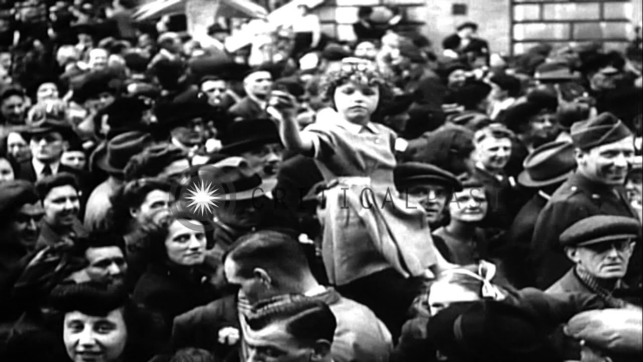 People celebrate the end of World war II in different countries of Europe. HD Stock Footage
