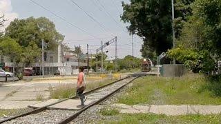 Woman vs Train  Dangerous stupid woman crossing Rails. GoPro