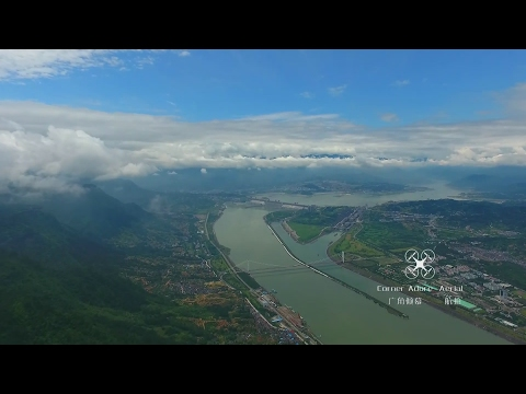 Aerial View Three Gorges Dam with Xiling Yangtze River Bridge航拍三峡大坝与中国第一座大型悬索桥