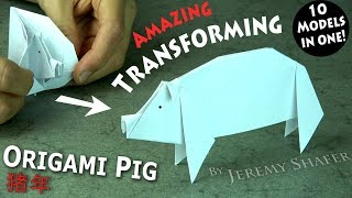 Origami Transforming Pig -- 10 Models in One!