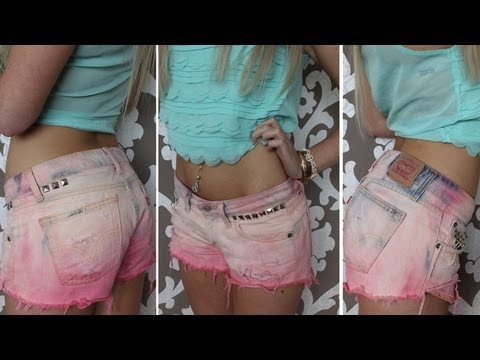 DIY How-To ♡ Ombre Pink Shorts ♡ Distressed Studded Hipster Tumblr Shorts