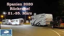 Spanien 2020 - Rückreise vom 21. - 25. März