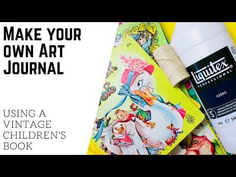 DIY Art Journal Using a Vintage Children's Book