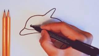 Быстрый и простой способ нарисовать красивый набросок морского животного -дельфина детям(Быстрый, мгновенный, молниеносный, моментальный, несложный, нетрудный, нехитрый способ схематически нарисо..., 2016-07-21T20:08:27.000Z)