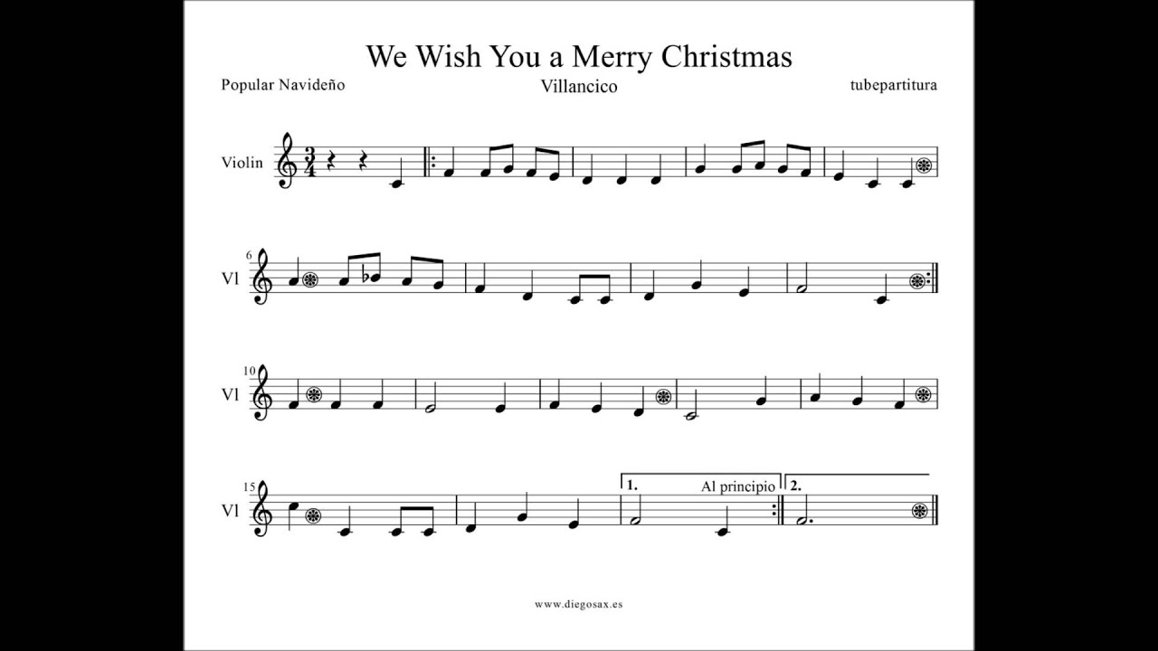 We Wish You a Merry Christmas Sheet Music for sax flute violin trumpet ...