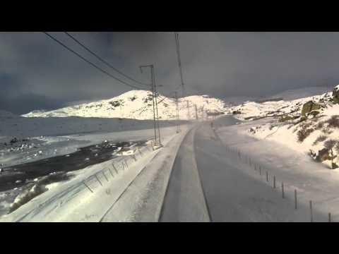 Bergensbanen railway at full speed after Finse