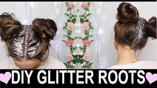DIY GLITTER ROOTS ♡ Space Buns Coachella Hairstyle!