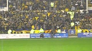 Everton fans applaude the AEK Athens fans at Goodison Park