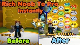 Rich Noob VS Bee Swarm Simulator! Noob To Pro Instantly! Make Millions Honey