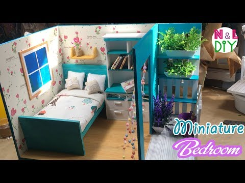 DIY Miniature Bedroom for Dollhouse | How to make a Bedroom with full Furniture for Doll