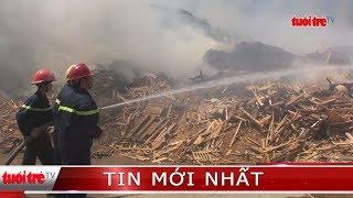 Xưởng sản xuất viên nén gỗ cháy lớn, thiệt hại hàng tỉ đồng
