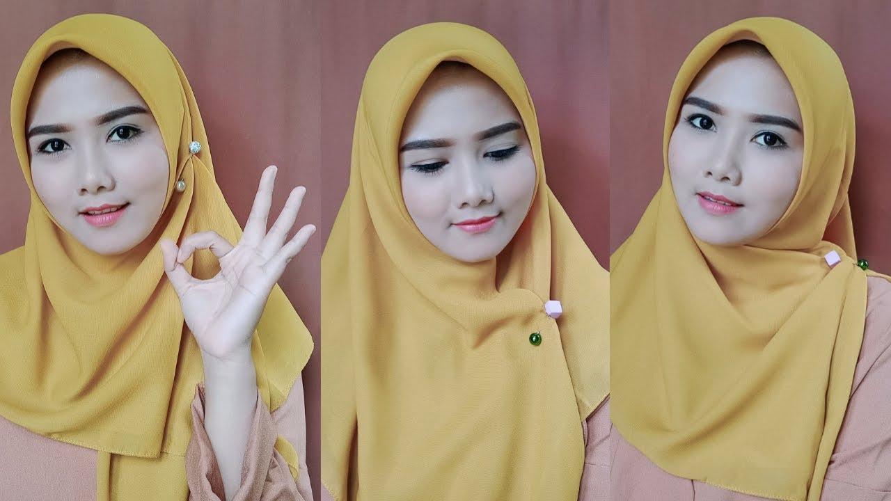 Tutorial Hijab Segi Empat Memakai Tuspin Segi Empat Simple Fara Cahya P Youtube