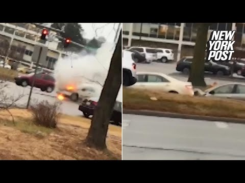 Truck fire observer accidentally films dramatic car collision | New York Post