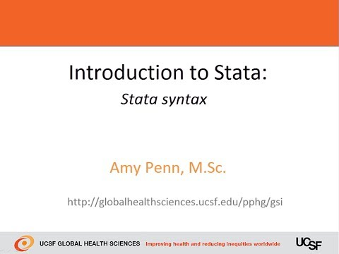 Introduction to Stata - Syntax