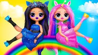 Dark Unicorn vs Rainbow Unicorn / 10 LOL OMG DIYs