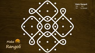 Very Simple Sikku Kolam with 7x3 dots | Beginners Melika Muggu with 7 dots | Make Rangoli