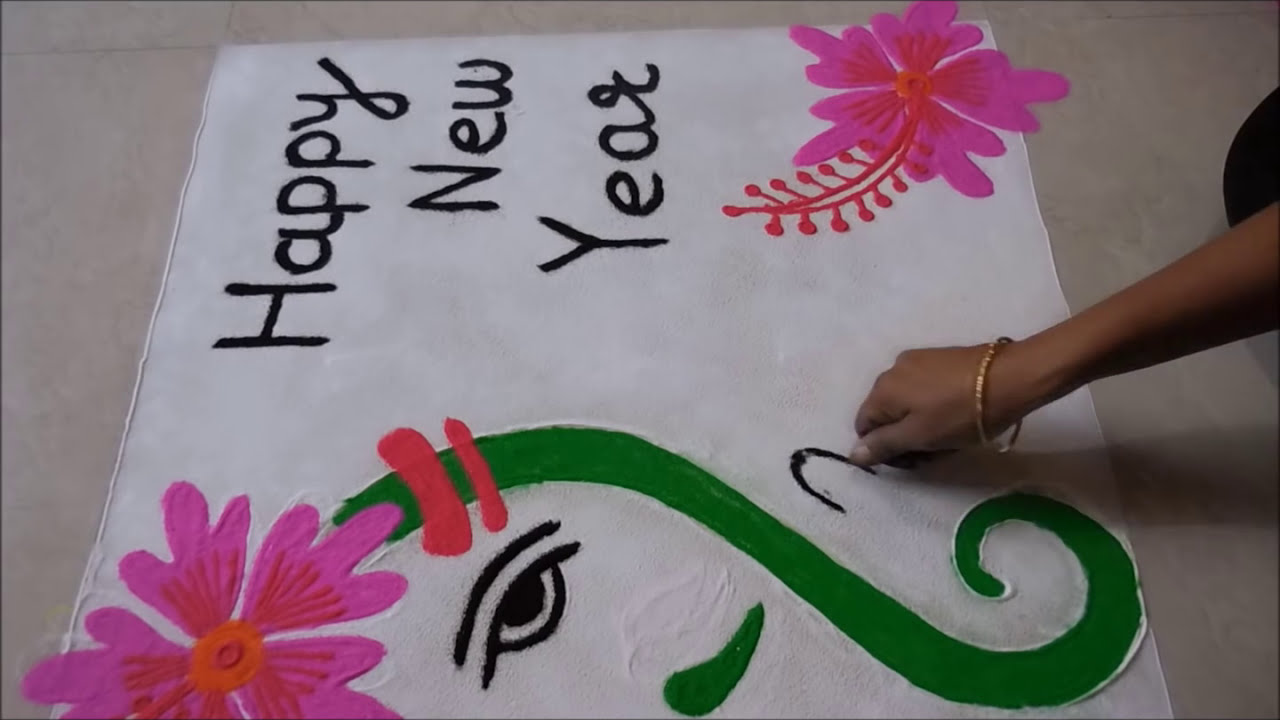 Happy New Year Rangoli 25