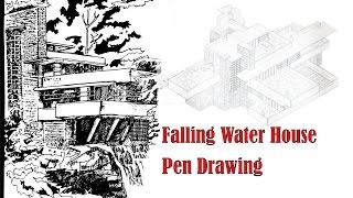 Frank Lloyd Wright Fallingwater house pen drawing