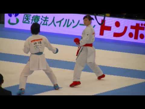 2016 JKF All Japan kumite final 植草 vs 山田 Uekusa vs Yamada