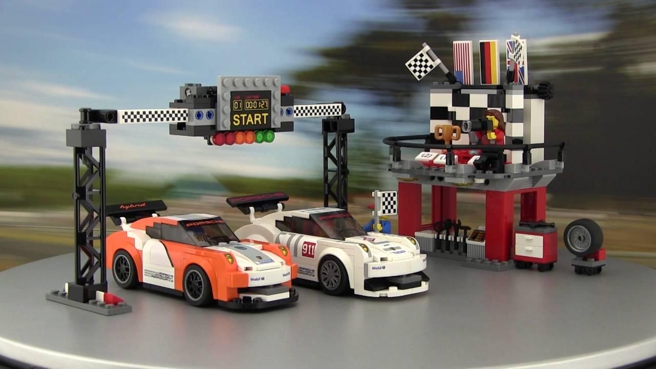 lego speed champions porsche 911 gt3 r hybrid und gt3 rsr finish line youtube. Black Bedroom Furniture Sets. Home Design Ideas