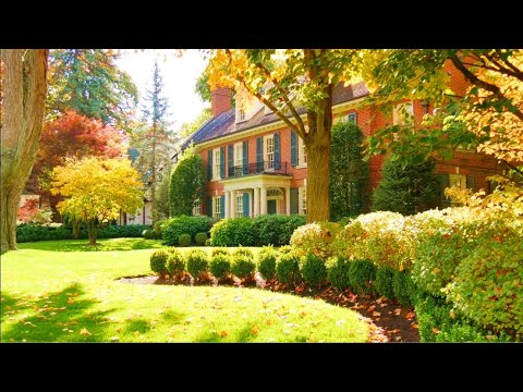 BEAUTIFUL Autumn Colours in old Toronto area and some Halloween decoration 4k