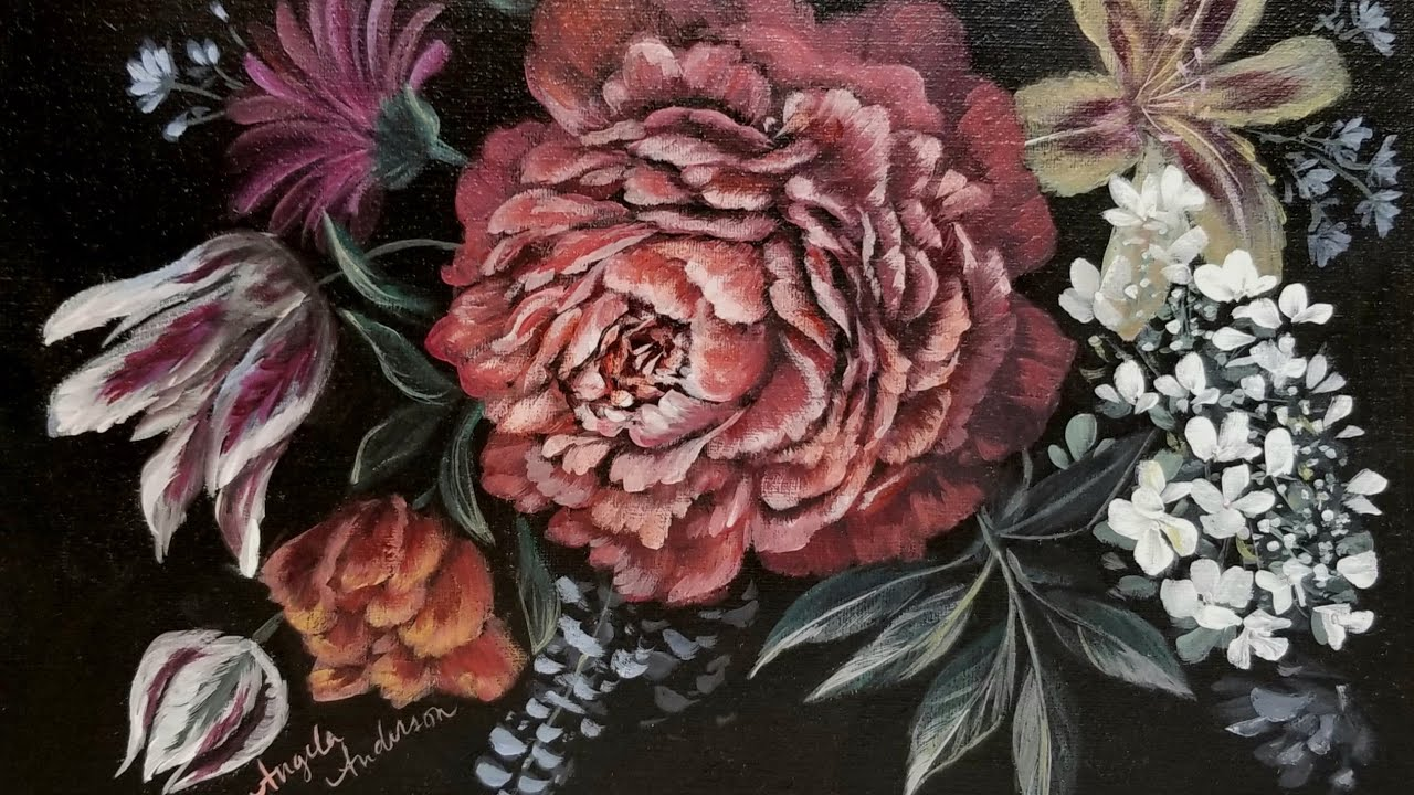 Easy Dark Floral Acrylic Painting Live Tutorial Youtube