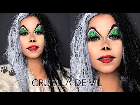 CRUELLA DE VIL MAKEUP TRANSFORMATION | DINA DASH