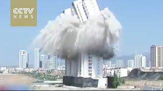 بالفيديو.. تفجير ناطحة سحاب في الصين