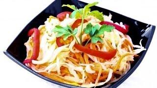 Салат из свежей капусты и моркови - простой рецепт.  Вкусный салат из капусты с морковью за 15 мин!