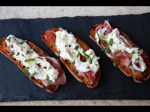 Best Burrata & Prosciutto Crostini recipe by SAM THE COOKING GUY