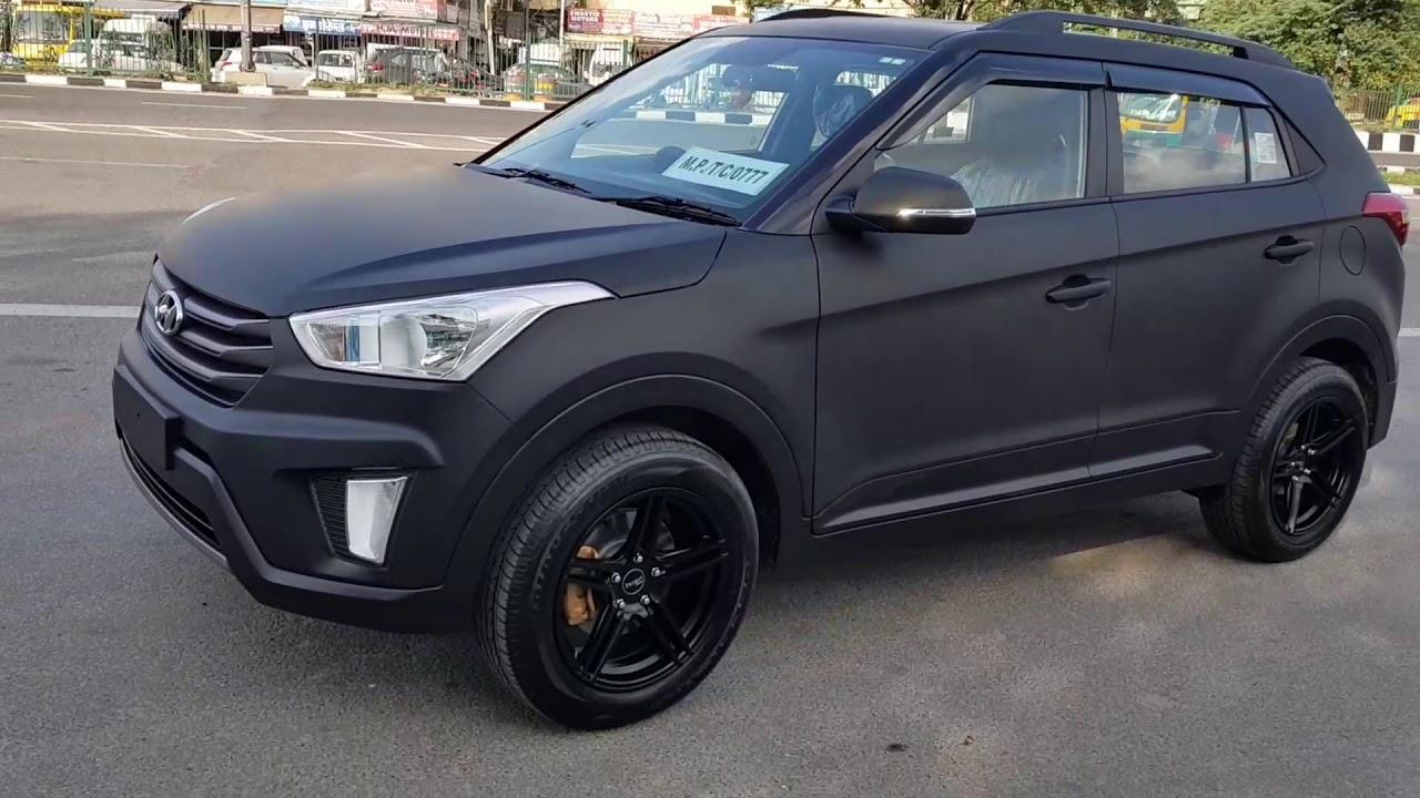 Matte black wrap black creta hyundai creta matte for Matte black car paint price
