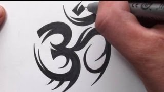 How To Draw a Tribal Om Symbol Tattoo Design