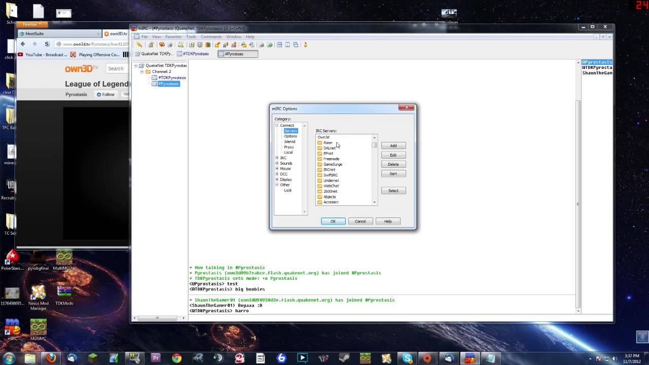 How to use MIRC to join Own3d tv Quakenet chat!