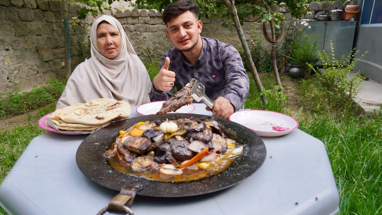 T-bone Steak with Vegetables Cooking  on the Sadj - Gilgit Baltistan