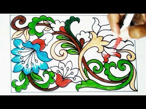 Menggambar Ragam Hias Flora 1 Youtube