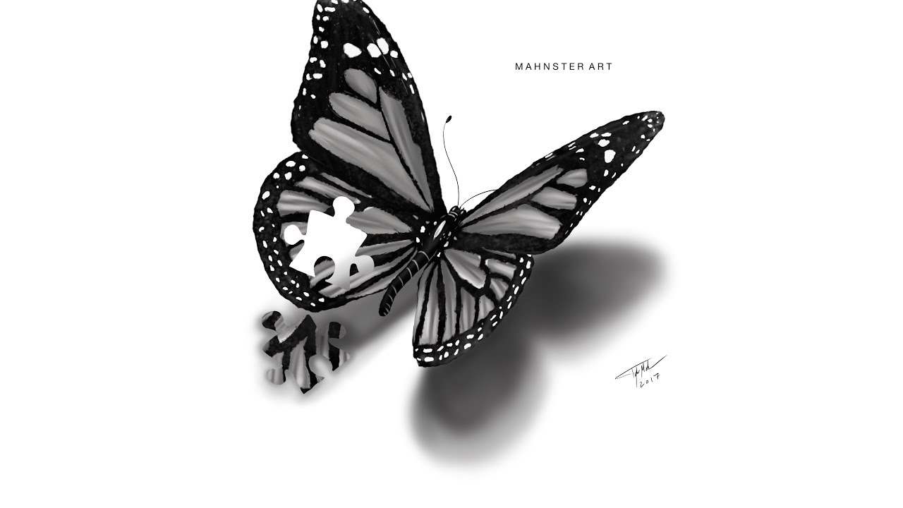Drawing a realistic butterfly tattoo design puzzle piece sketchbook pro