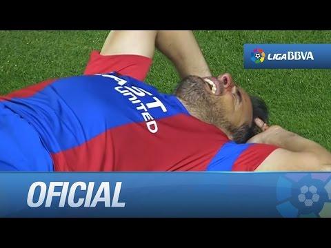 Pedro López sangrando tras un choque con Roque Mesa