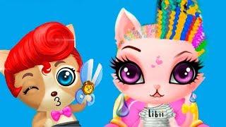 Прическа для милого котика в детской игре про салон красоты для животных