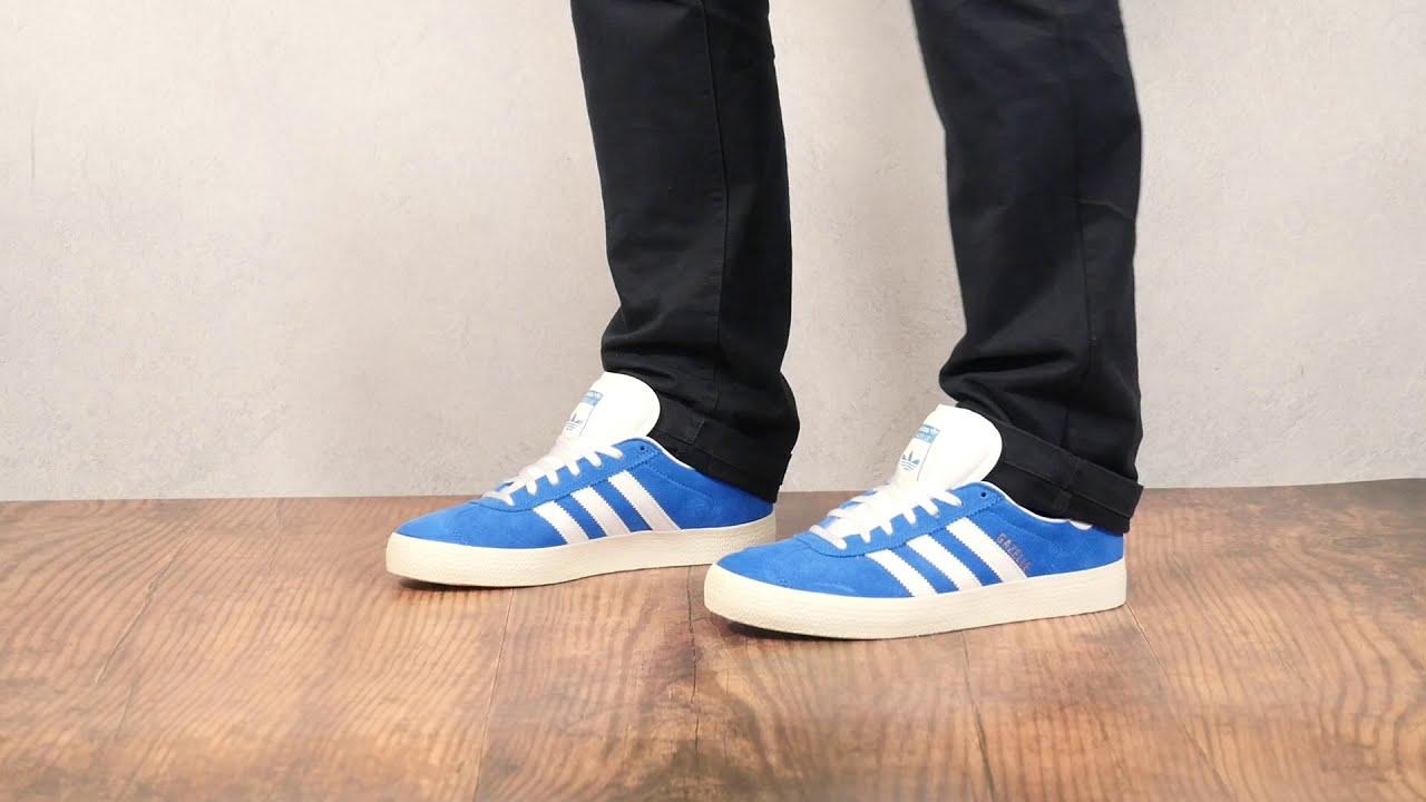 Adidas Gazelle ADV Bluebird/Footwear White/Chalk White On Feet