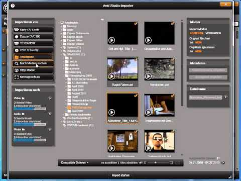 Medien suchen und importieren in Avid studio und Pinnacle Studio