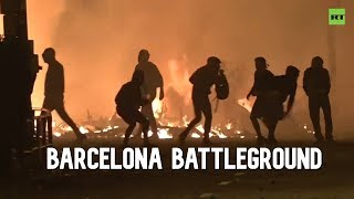 Half a million protesters clash with police in Barcelona mayhem