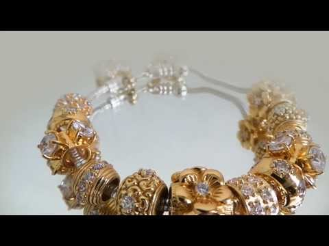 Silver beads wholesale. Gold plated sterling silver beads on bracelet.