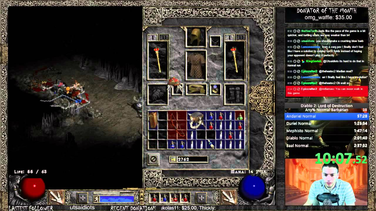 Diablo 2 Barbarian Any% Speedrun World Record! - 2:26:20