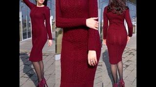 Бесплатный МК часть 2 по вязанию спицами облегающего платья Марсала: вяжем рисунок
